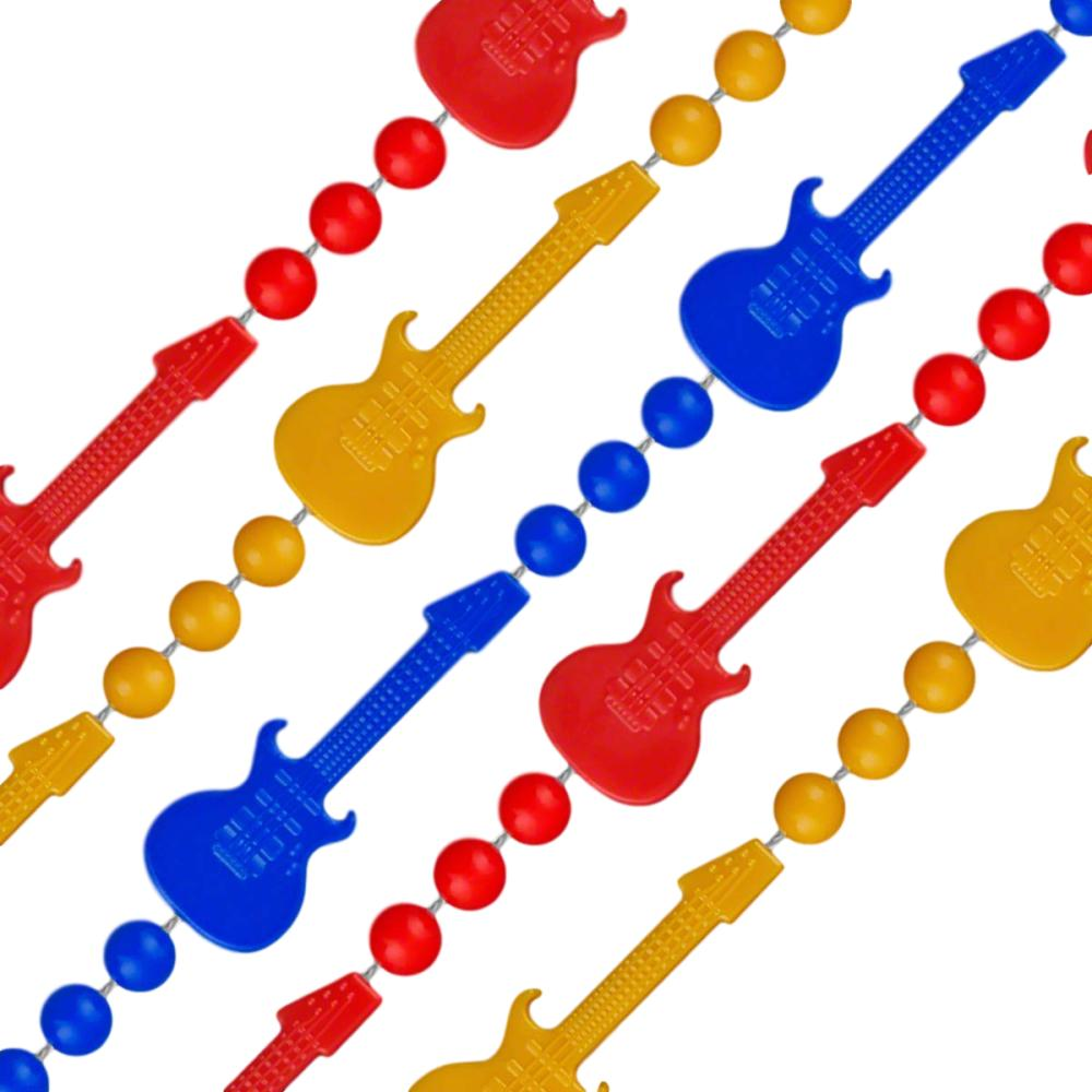 Rock N Roll Guitar Bead Necklace Assorted Pack of 12 All Products
