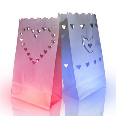 Luminary Bags with Heart Designs Rainbow Multicolor