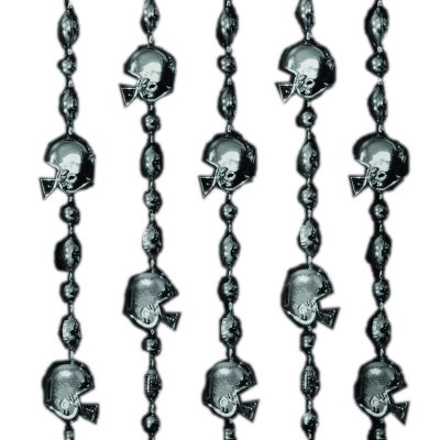 Football Helmet Bead Necklaces Black Pack of 12 Beads