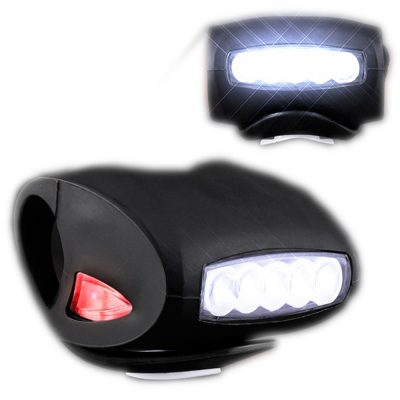 Black Bicycle Headlight with White and Red LEDs Red