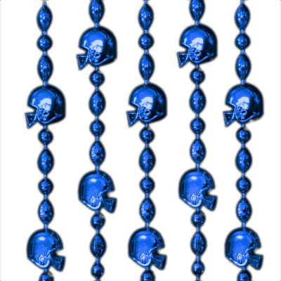 Football Helmet Bead Necklaces Blue Pack of 12 Beads