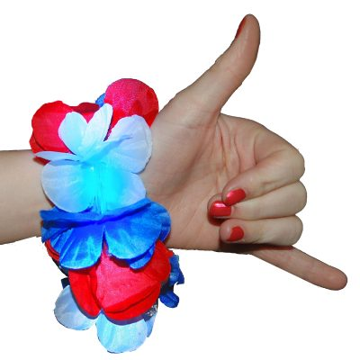 Light Up Hawaiian Lei Bracelet Red White and Blue 4th of July