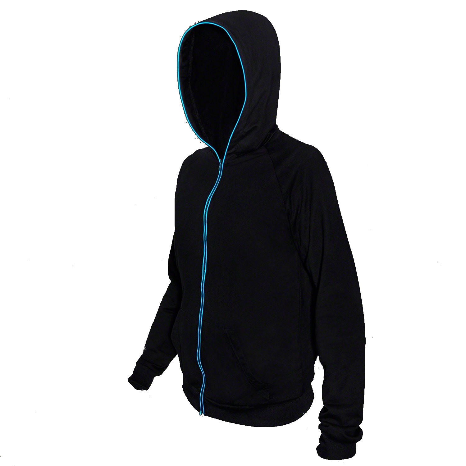 Electro Luminescent Zip Up Hoodie Blue Small All Products