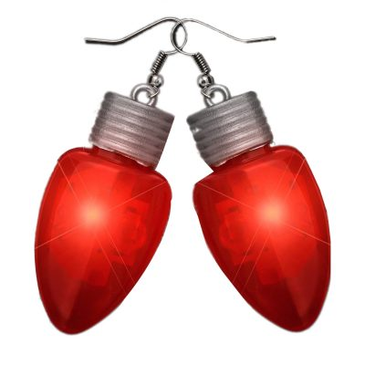 Flashing Christmas Bulb Earrings Red All Products