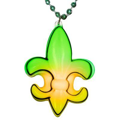 Fleur De Lis LED Charm on Mardi Gras Beads Rainbow Multicolor