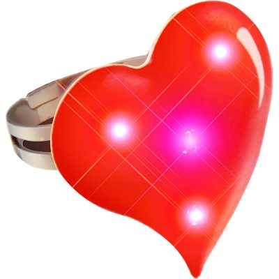 Funky Heart Ring Flashing Body Light Lapel Pins Red