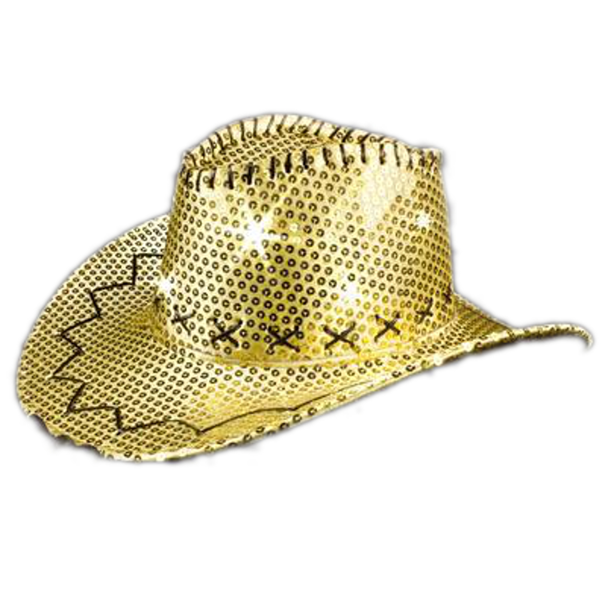 LED Sequin Cowboy Hat with Fancy Stitching Gold All Products