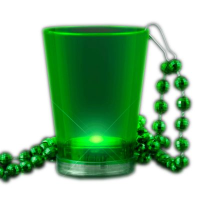 Light Up Green Shot Glass on Green Beaded Necklaces Green