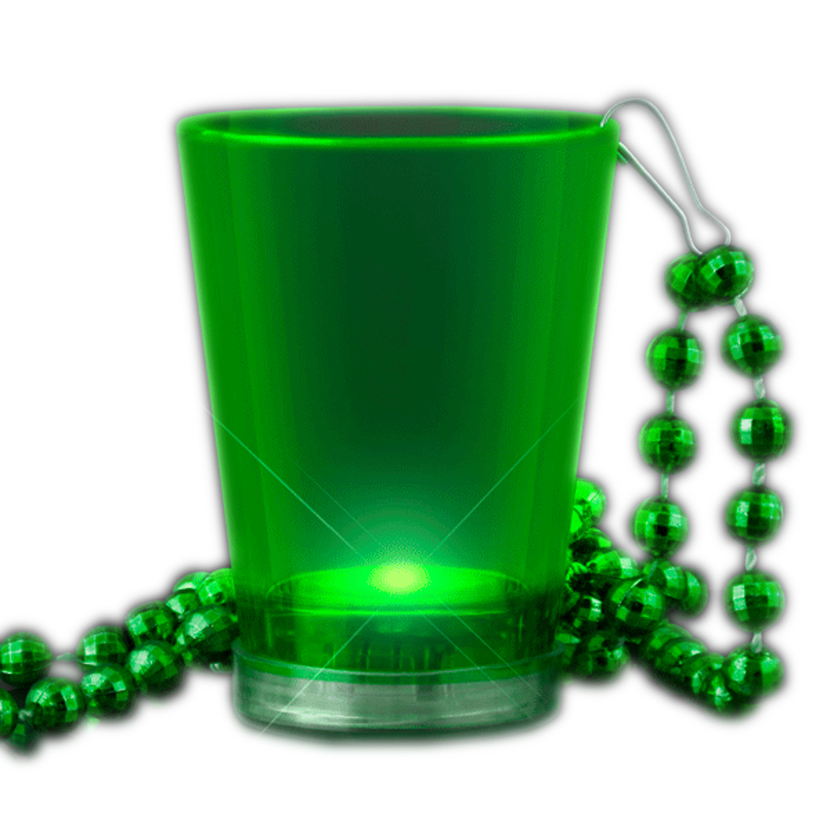 Light Up Green Shot Glass on Green Beaded Necklaces All Products