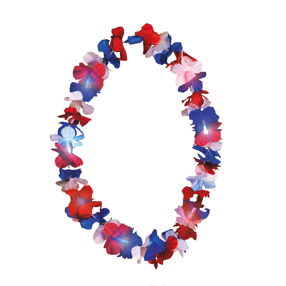 Light Up Hawaiian Lei Red White and Blue 4th of July
