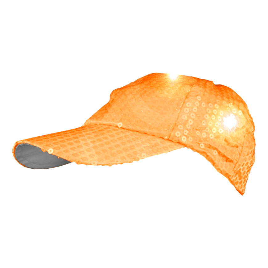 LED Sequined Baseball Hat Orange All Products