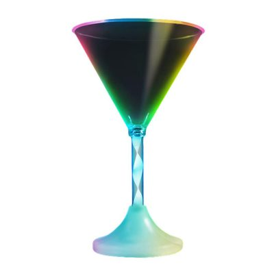 Martini Drinking Glass Long Stem Rainbow Multicolor