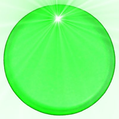 Light Up Round Badge Pin Green Flashing