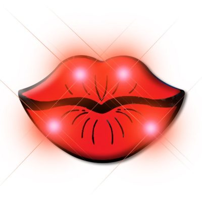Lips Flashing Body Light Lapel Pins Red