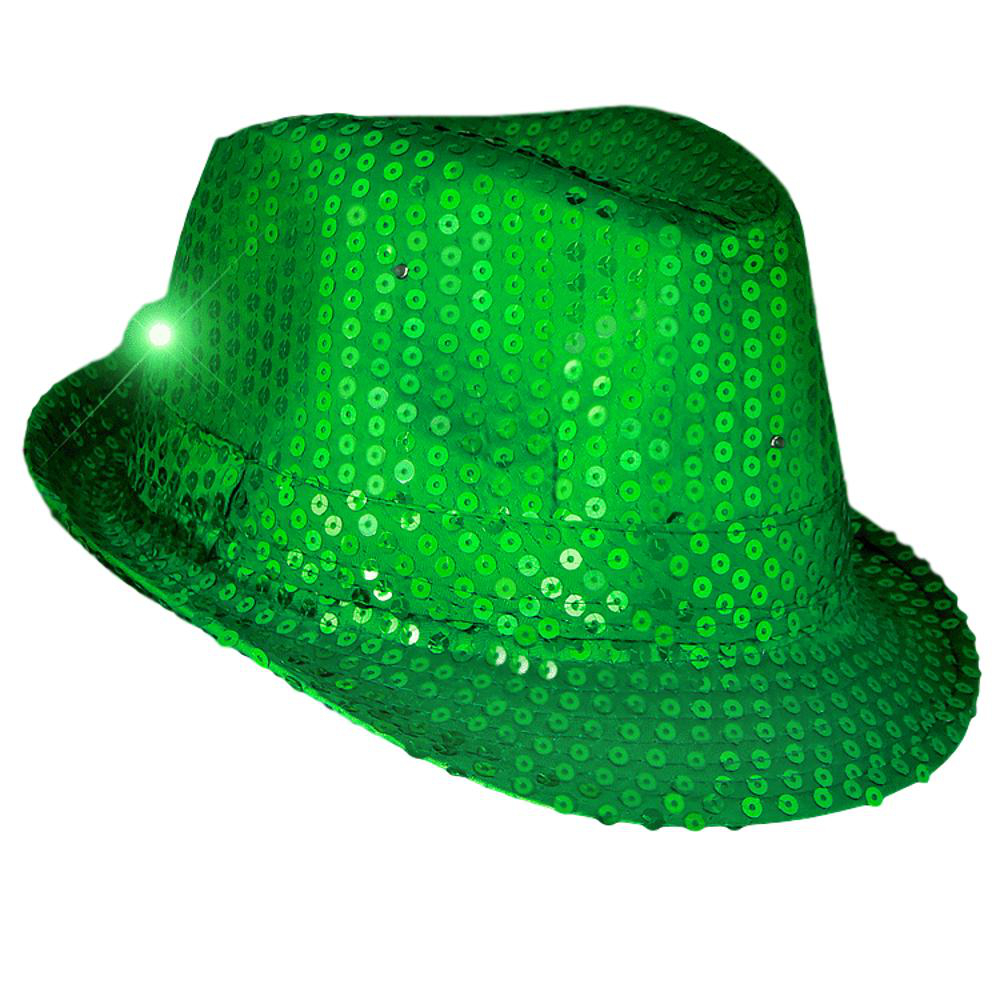 1 Dozen LED Flashing Fedora Hats with Light Green Sequins All Products