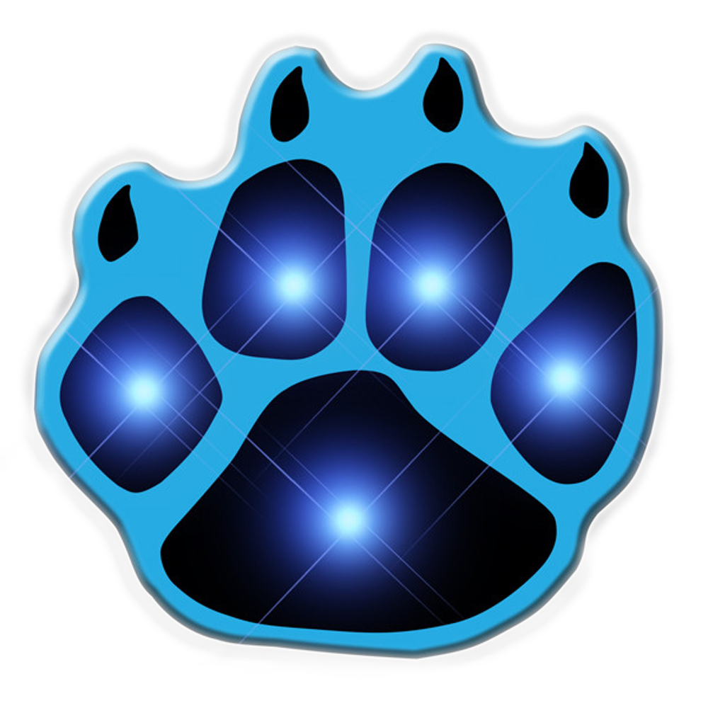 Blue Pawprint Flashing Body Light Lapel Pins All Body Lights and Blinkees