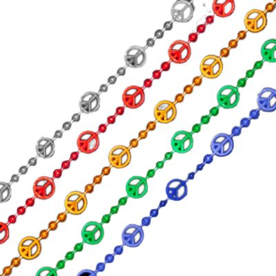 Peace Sign Bead Necklace Assorted Pack of 12 All Products