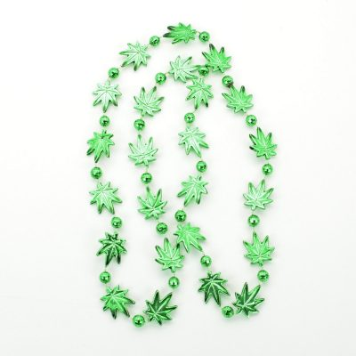 Pot Leaf Bead Necklaces Green Pack of 12 420