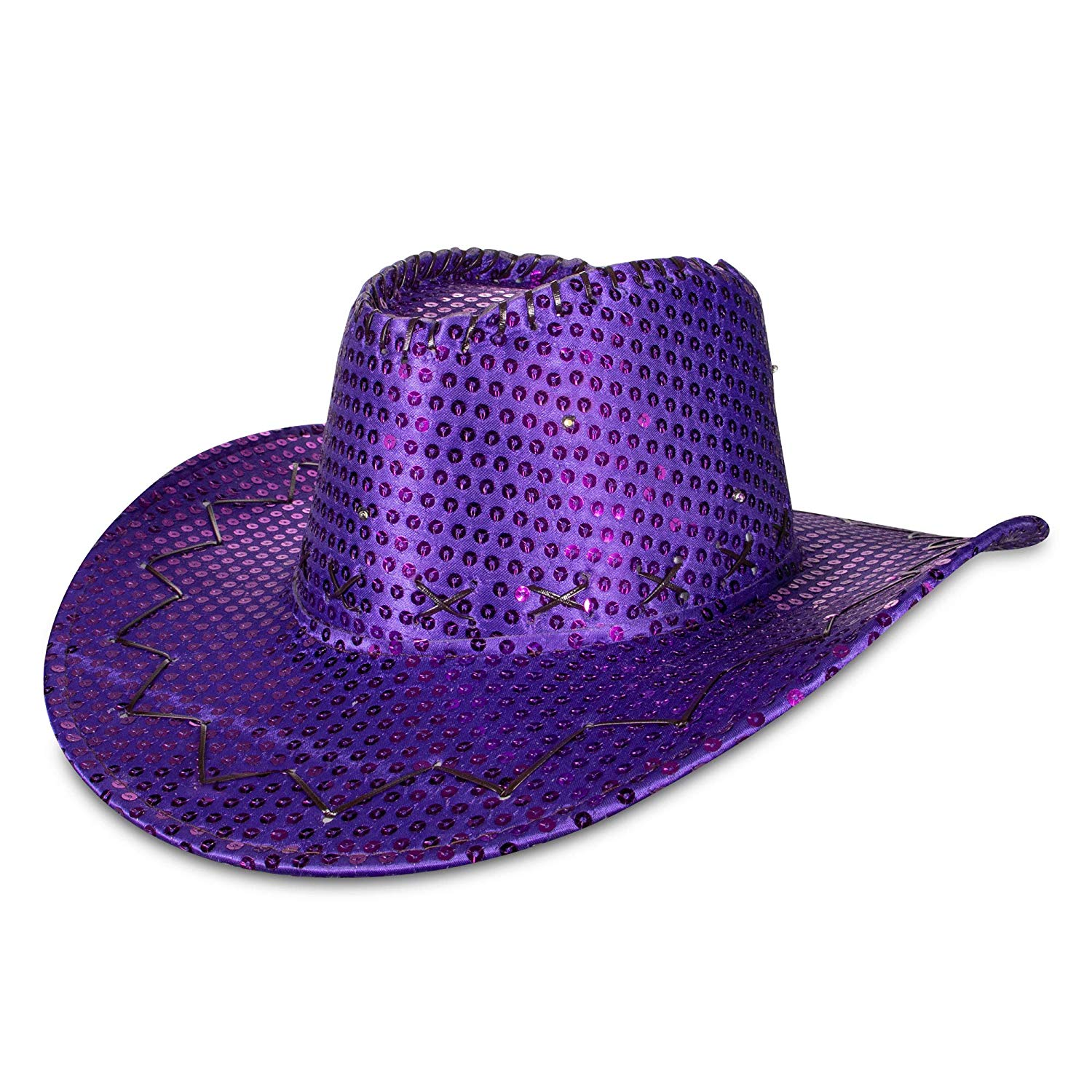 LED Sequin Cowboy Hat with Fancy Stitching Purple All Products