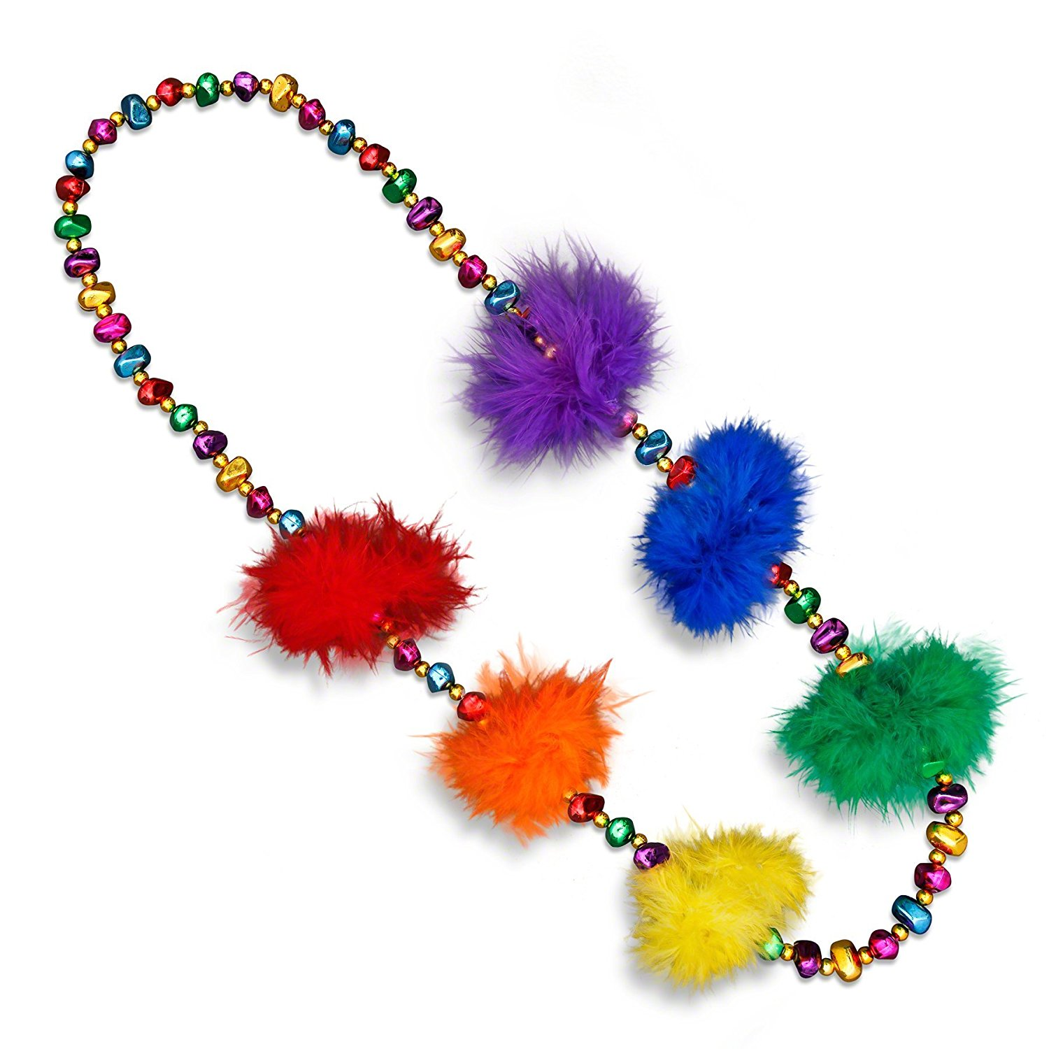 Rainbow Feather Beaded Necklace All Products