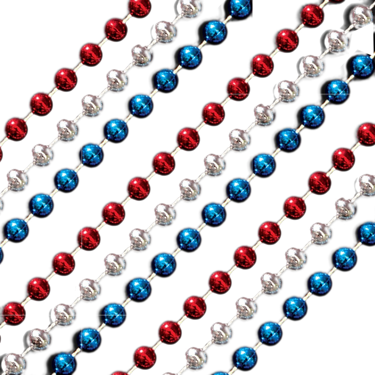 Red White and Blue Round Bead Necklace Pack of 12 4th of July