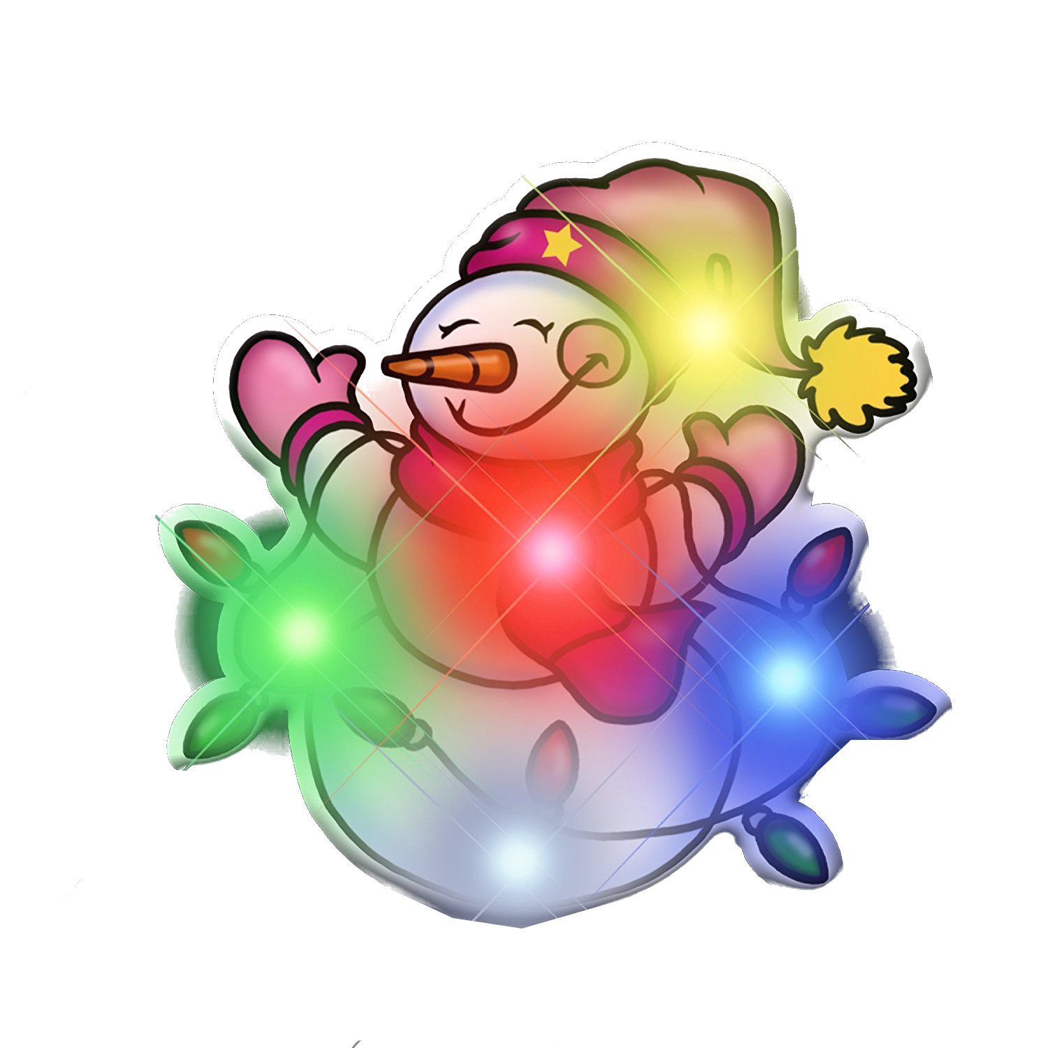Snowman Tangled up in Christmas Lights Flashing Body Light Lapel ...