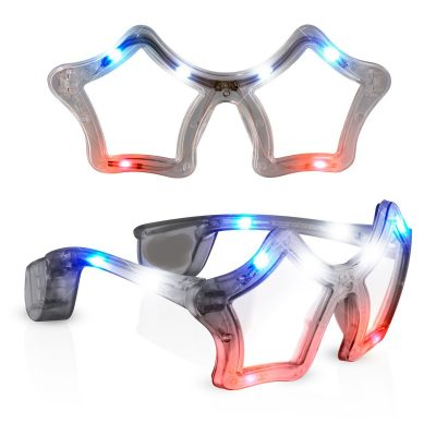 Red White Blue Flashing LED Star Sunglasses 4th of July