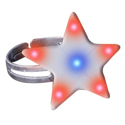 Star Light Up Ring Flashing Body Light Lapel Pins 4th of July