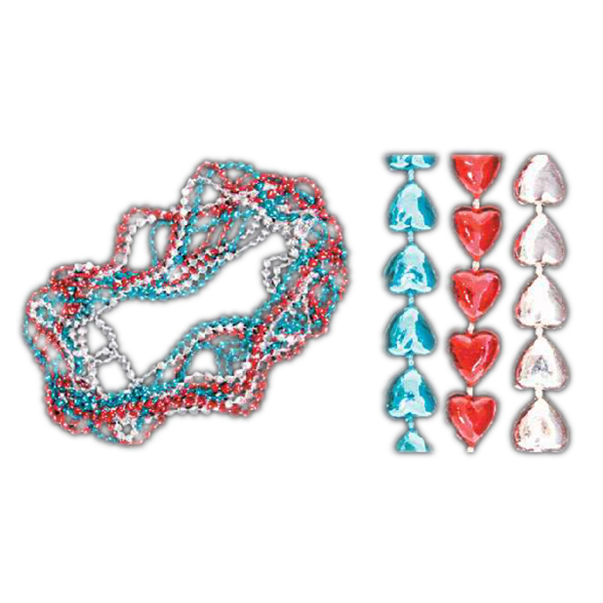 Sweet Heart Necklace Red White and Blue Pack of 12 4th of July