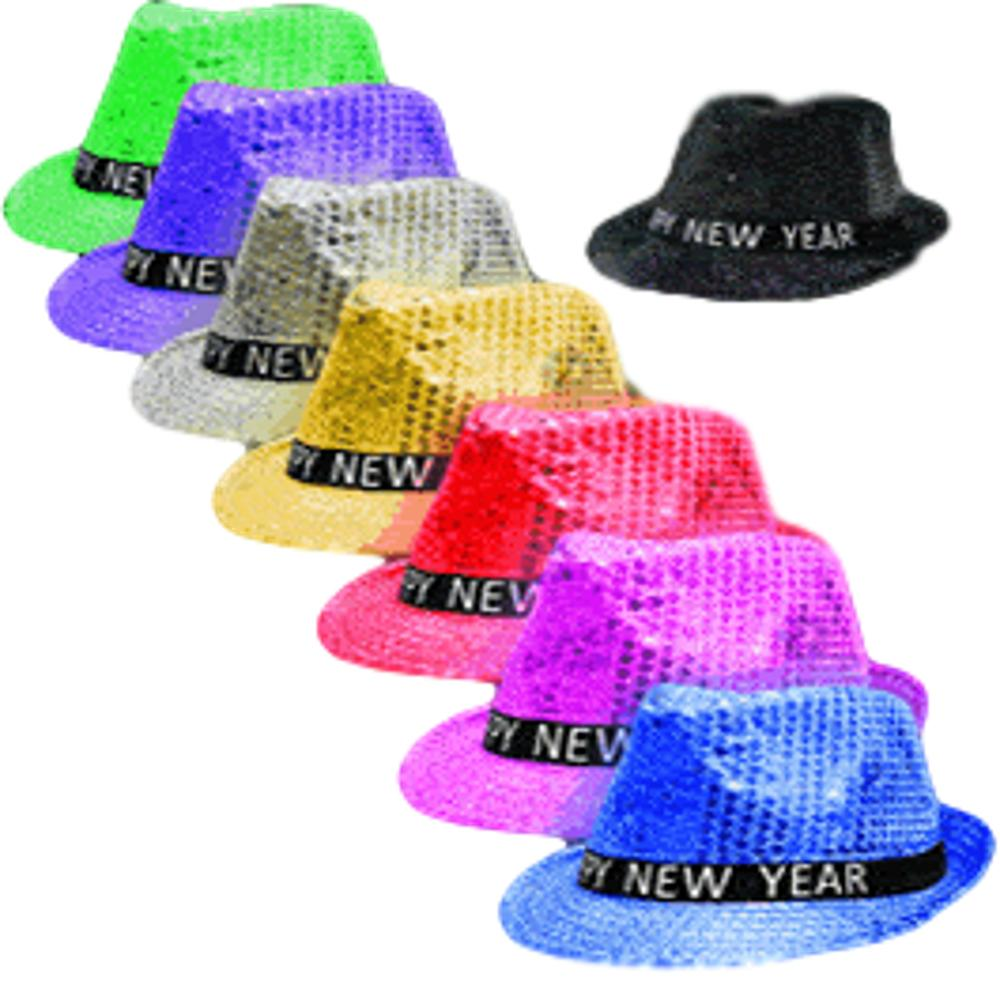 1 Dozen Light Up LED Happy New Year Fedoras Assorted Colors All Products