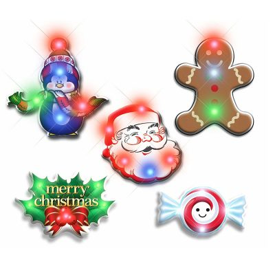Assorted Christmas 2 Flashing Blinky Body Light Lapel Pins Pack of 25 All Body Lights and Blinkees