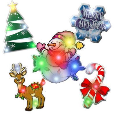 Assorted Christmas 1 Flashing Blinky Body Light Lapel Pins Pack of 25 All Body Lights and Blinkees