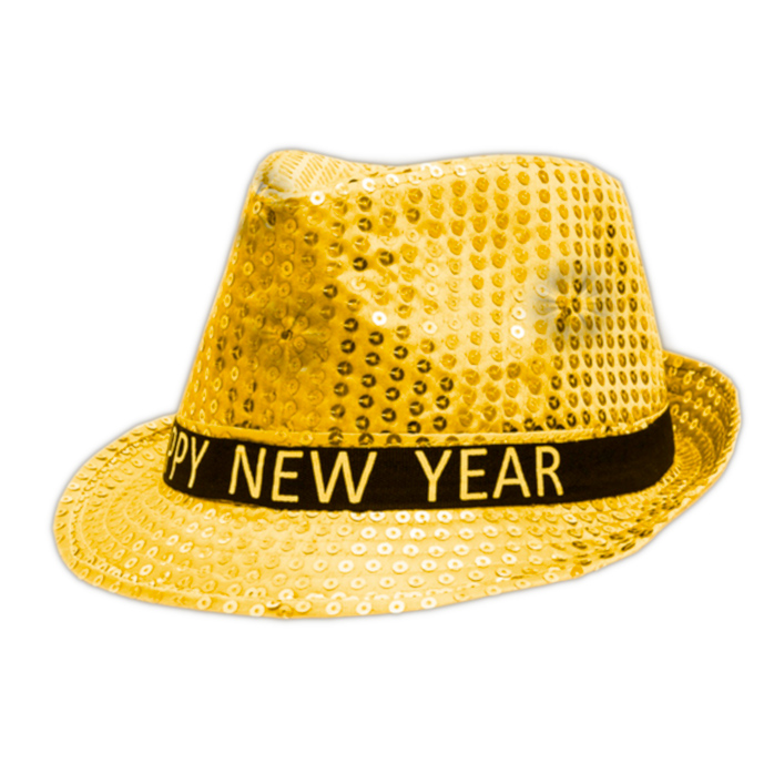 Light Up LED Happy New Year Fedora Gold All Products