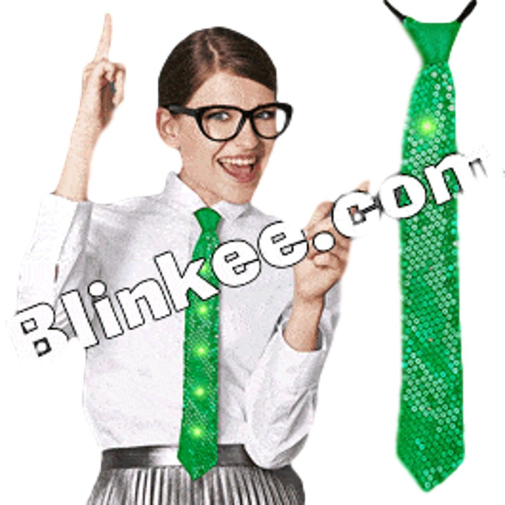 Green Sequin Necktie with Green LEDs All Products