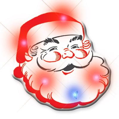 Santa Claus Christmas Flashing Blinky Body Light Lapel Pin All Body Lights and Blinkees