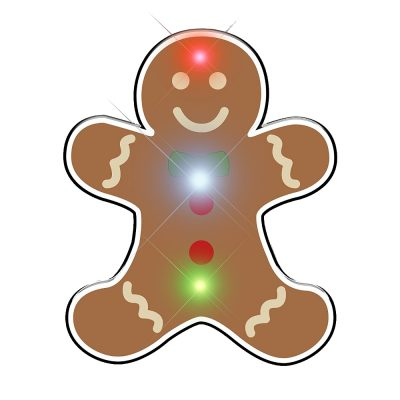 Gingerbread Man Chriistmas Flashing Blinky Body Light Lapel Pin All Body Lights and Blinkees