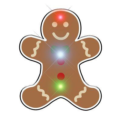 Gingerbread Man Chriistmas Flashing Blinky Body Light Lapel Pin All Body Lights and Blinkees