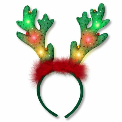 LED Jingle Bells Reindeer Antlers Light Up Headband All Products