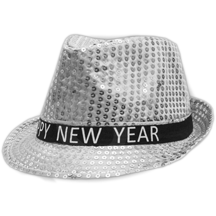 Light Up LED Happy New Year Fedora Silver All Products