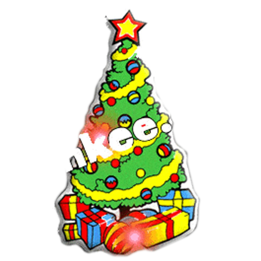 Tree with Gifts Flashing Body Light Lapel Pins All Body Lights and Blinkees
