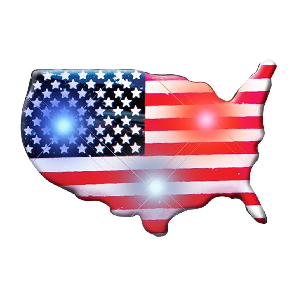 USA Shape Flag Flashing Body Light Lapel Pins 4th of July