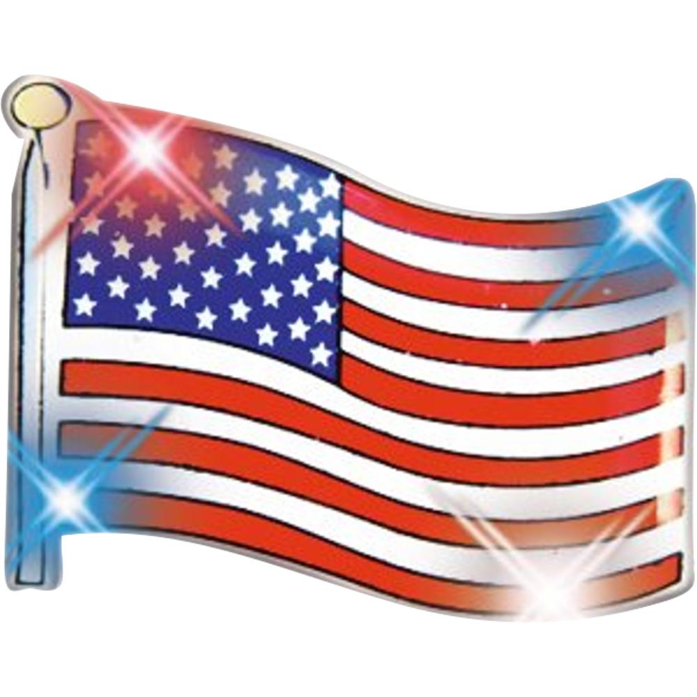 USA Flag Flashing Body Light Lapel Pins 4th of July