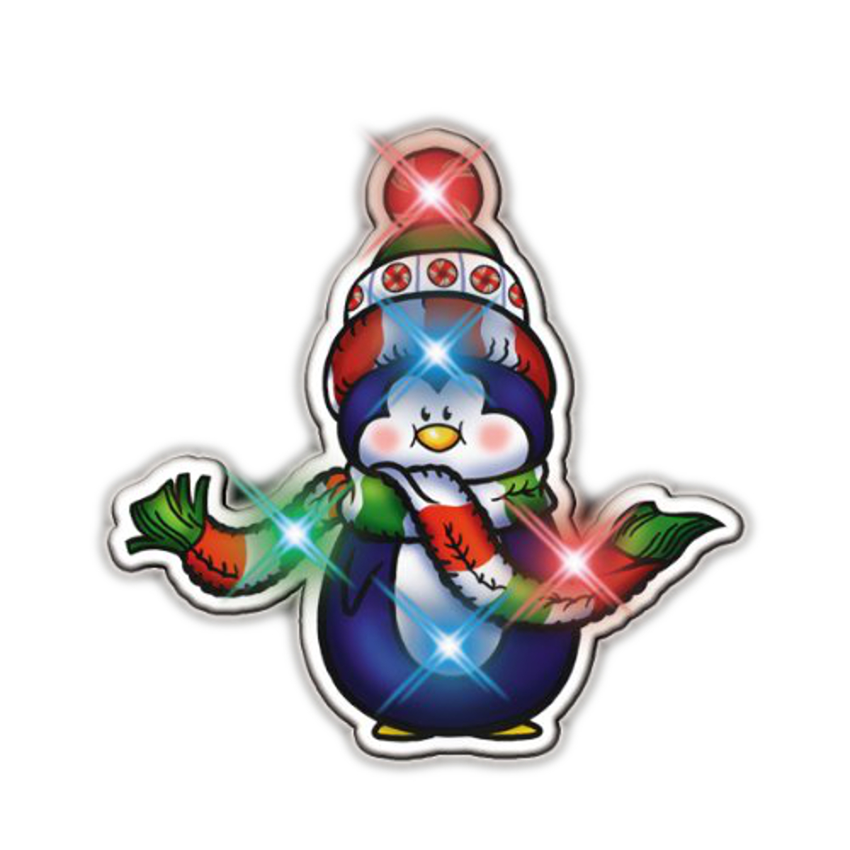 Penguin with Scarf Flashing Body Light Lapel Pins All Body Lights and Blinkees