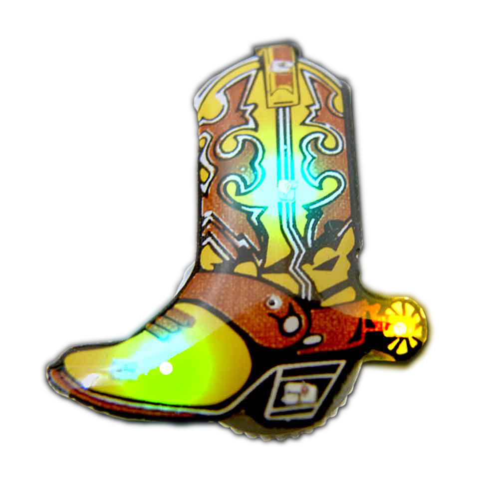Brown Cowboy Boot 2 Flashing Body Light Lapel Pins All Body Lights and Blinkees