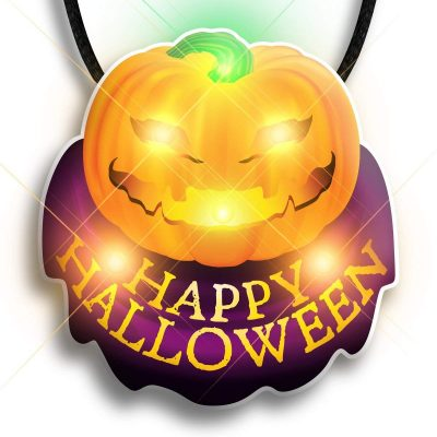 Happy Halloween Pumpkin Flashing Body Light Necklace All Body Lights and Blinkees