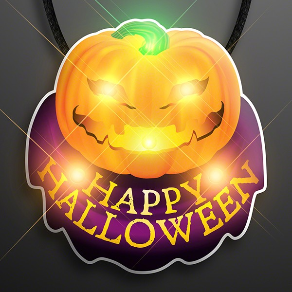 Happy Halloween Pumpkin Flashing Body Light Necklace