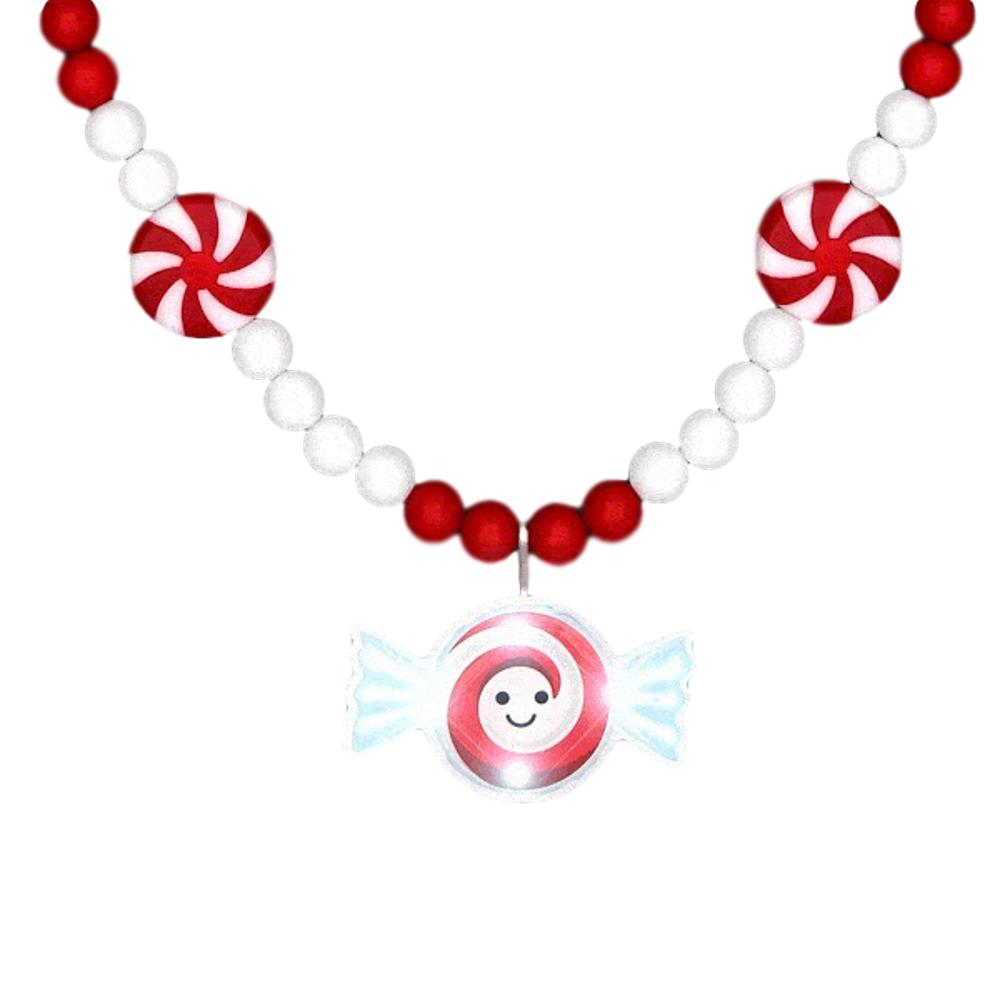 Jolly Holiday Party Peppermint Blinky Beaded Necklace All Products