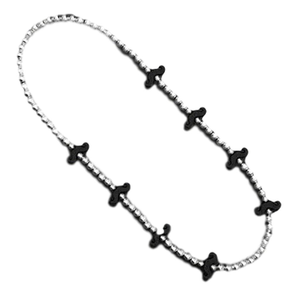 Black Mustache Beaded Silver and Black Necklace All Products