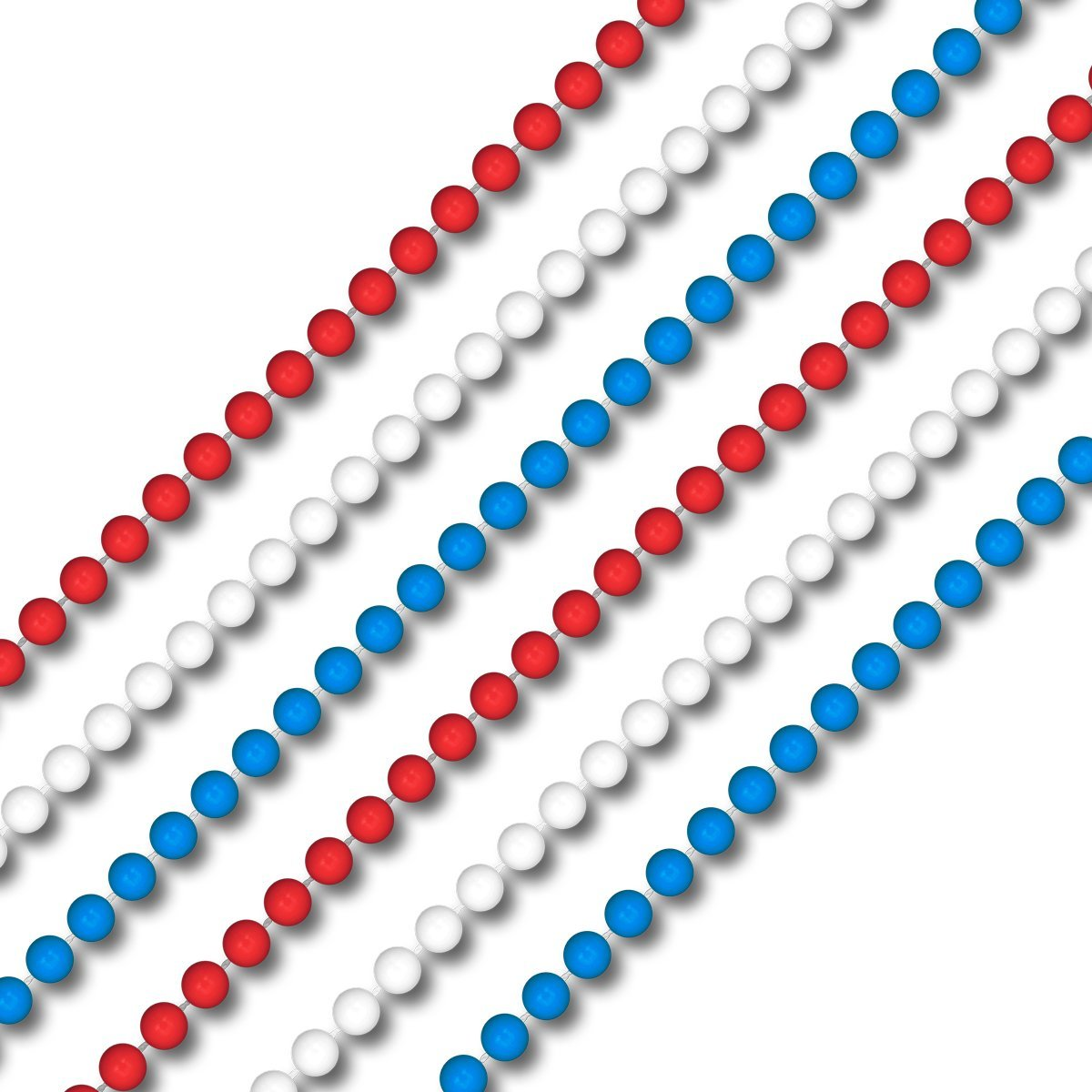 Smooth Round Opaque Bead Mardi Gras Necklace USA Red White and Blue Pack of 12 4th of July
