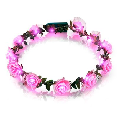 Light Up Pink Rose Flower Princess Halo Crown Headband Clubs, Concerts, Festivals, Disco